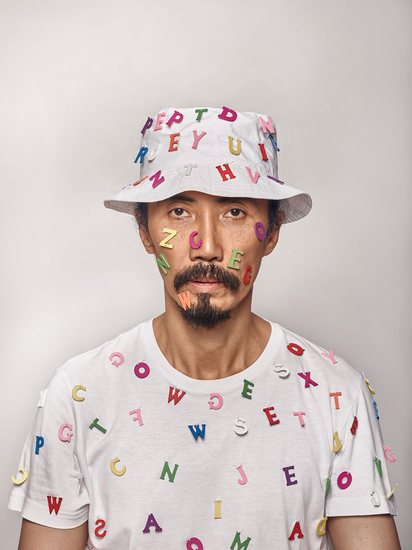 13 Aug 2017 Derong wears a white hat and white tee, with colourful alphabets stuck all over
