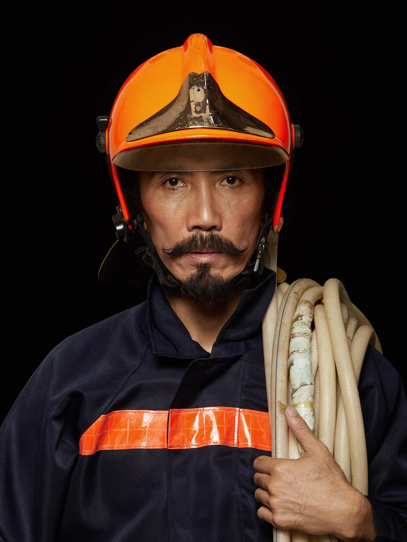 16 Oct 2017 A Salute to firefighters: Derong is photographed as a firefighter