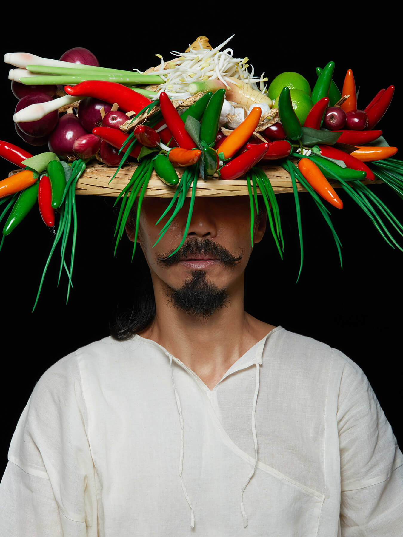 "21 Jan 2018 Derong has a ""garden"" of veg and fruits on his head"